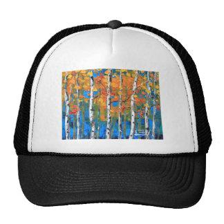 Birch Tree Painting, Blue Birch, Fall textured Art Trucker Hat
