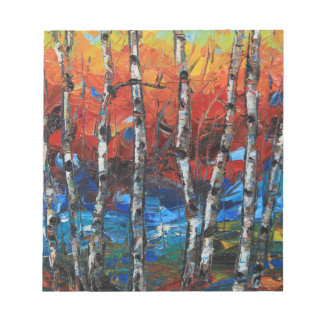Birch Tree Palette Knife Painting Notepad