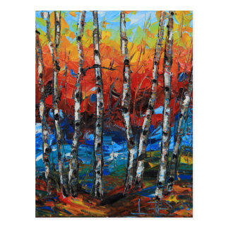 Birch Tree Palette Knife Painting Postcard