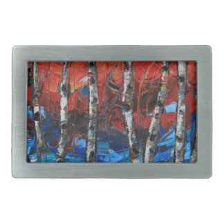 Birch Tree Palette Knife Painting Rectangular Belt Buckle