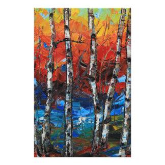 Birch Tree Palette Knife Painting Stationery
