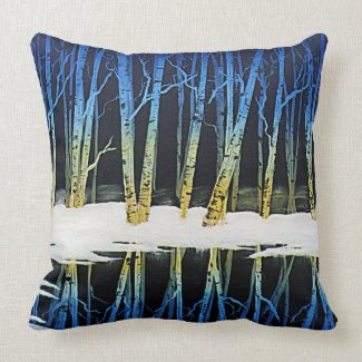 Birch Tree Pond Reflection Pillow