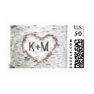 birch tree postage stamps for rustic weddings