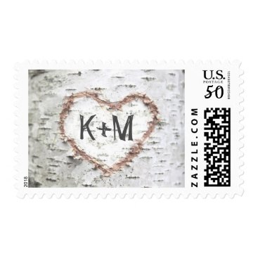 Valentines Themed birch tree postage stamps for rustic weddings