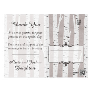 Birch Tree Rustic Nature Wedding Thank You Postcard