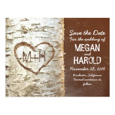 Birch bark rustic save the date postcards | Zazzle