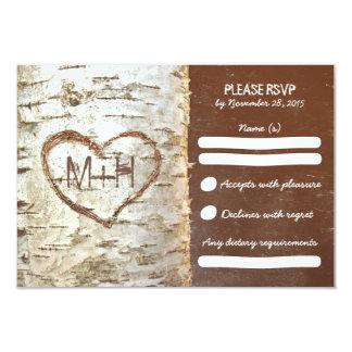 Birch tree rustic wedding RSVP cards