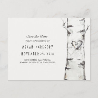 birch tree rustic wood heart save the date announcement postcard