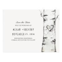 birch tree rustic wood heart save the date postcard