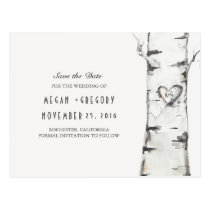 birch tree rustic wood heart save the date postcard