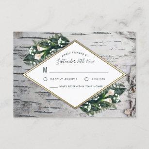Birch Tree Rustic Woodland Wedding RSVP Cards