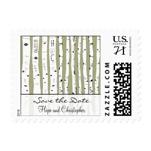 Birch Tree Save the Date Choose background Postage