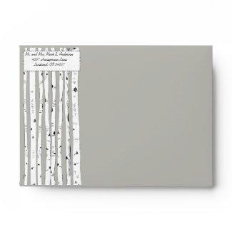 Birch Tree Silver Cloud Wedding Envelopes envelope