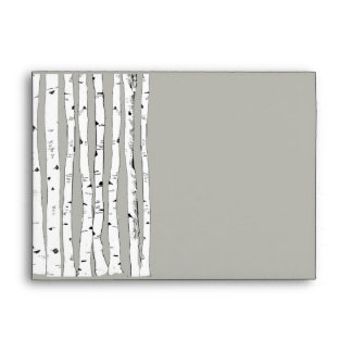 Birch Tree Silver Cloud Wedding Envelopes