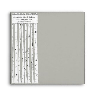 Birch Tree Silver Cloud Wedding Square Envelopes envelope
