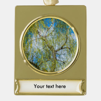 Birch tree - Spring is in the air Gold Plated Banner Ornament
