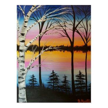 paintingbuzz birch tree sunset postcard