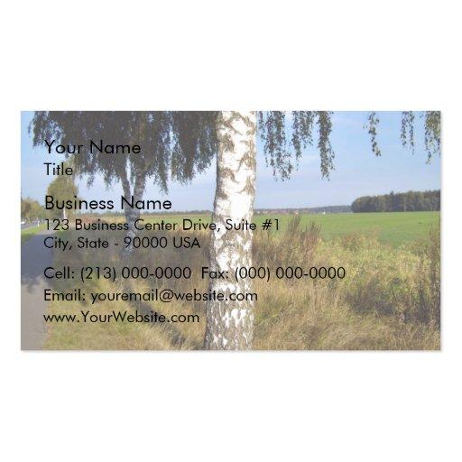 Birch Tree Trunk along roadside Business Card Template
