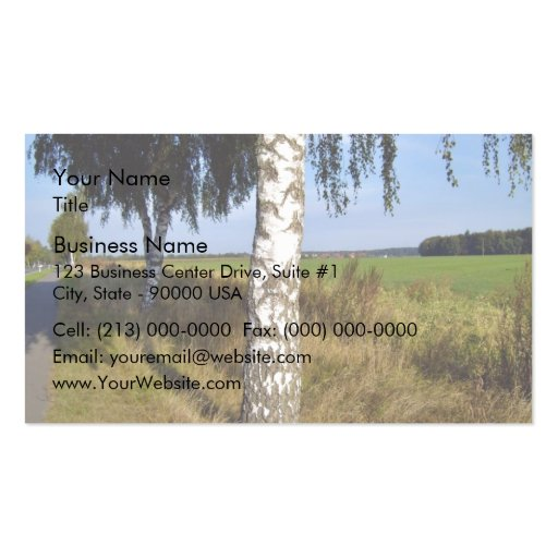 Birch Tree Trunk along roadside Business Card Templates