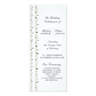 Birch Tree Wedding Program 4x9.25 Paper Invitation Card