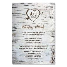 Birch Tree Wedding Reception + Accommodation Cards
