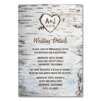 Birch Tree Wedding Reception   Accommodation Cards