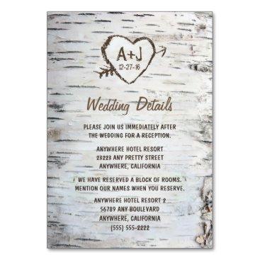 RusticWeddings Birch Tree Wedding Reception   Accommodation Cards