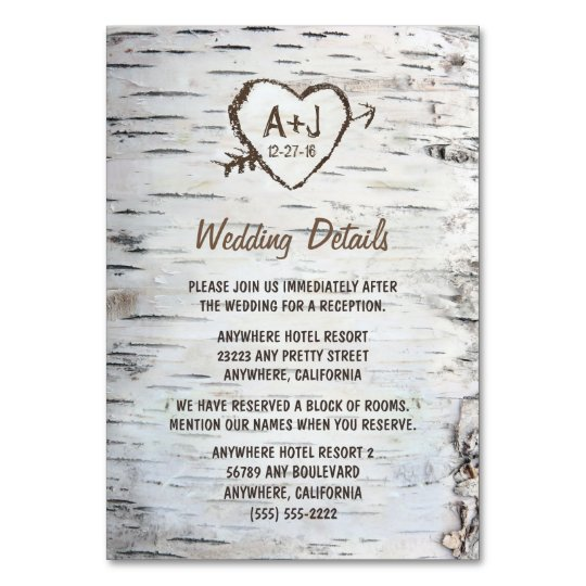 Accommodation Cards For Wedding Invitations: Birch Tree Wedding Reception + Accommodation Cards