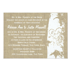 Birch Tree with Carved Heart and Initials 5x7 Paper Invitation Card