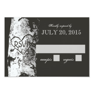 """Birch Tree with Carved Heart RSVP 3.5"""" X 5"""" Invitation Card"""