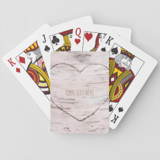 Birch Tree Wood & Heart Rustic Country Playing Cards