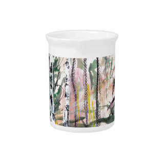 Birch Tree Woodland Watercolour Painting Drink Pitcher