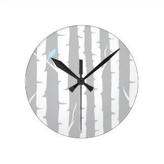 Birch Trees and Birds Round Clock