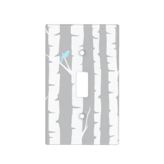 Birch Trees and Blue Bird Light Switch Cover