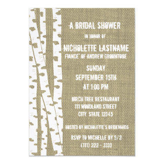 Birch Trees and Burlap Bridal Shower Card