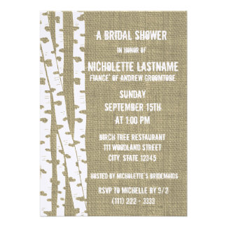 Birch Trees and Burlap Bridal Shower Personalized Invites