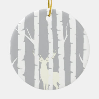 Birch Trees and Deer Ceramic Ornament