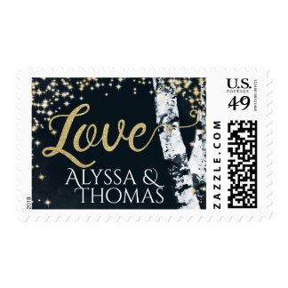 Birch Trees and Starry Sky Love Postage