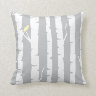 Birch Trees and Yellow Birds Throw Pillow