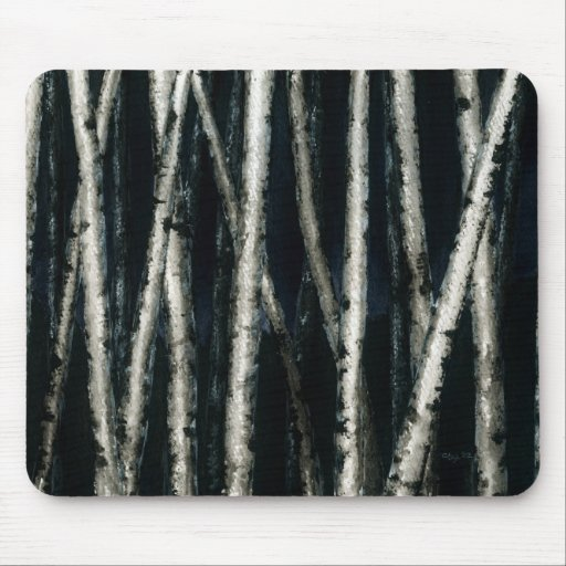 Birch Trees at Night Mousepad
