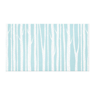 Birch Trees Blue Gallery Wrapped Canvas
