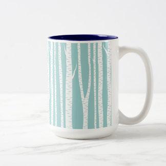 Birch Trees Blue Two-Tone Coffee Mug