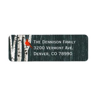 Birch Trees Custom Christmas Address Label at Zazzle