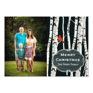 Birch Trees Custom Photo Christmas Greeting 5x7 Paper Invitation Card