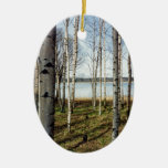 Birch trees forest in Finland Double-Sided Oval Ceramic Christmas Ornament