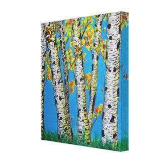 Birch Trees in Autumn Canvas Print