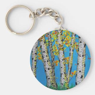 Birch Trees in Autumn Keychain