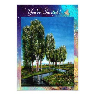 BIRCH TREES IN TUSCANY, blue green gold sparkles Card