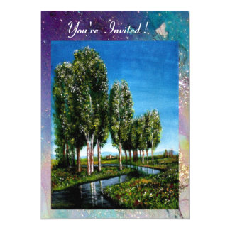 BIRCH TREES IN TUSCANY, blue green sparkles Card