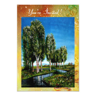 BIRCH TREES IN TUSCANY,green brown yellow sparkles Card